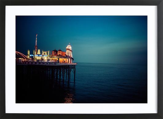 Pier brighton flo klein poster in wooden frame