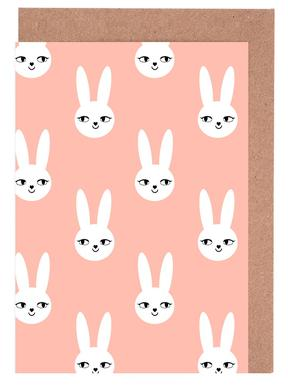 Easter Bunny Peach Greeting Card Set