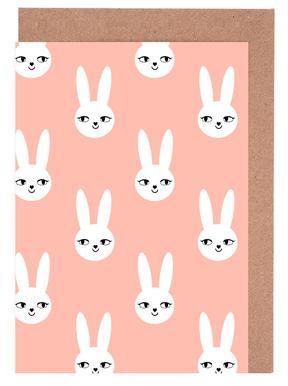Easter Bunny Peach wenskaartenset