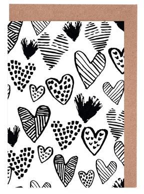 Valentines B&W Greeting Card Set