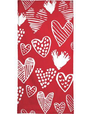 Valentines Red handdoek