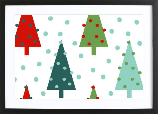 Christmas Tree as Poster in Wooden Frame by Charlotte Winter   JUNIQE
