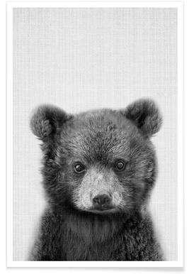 Ours - Photo en noir et blanc Affiche