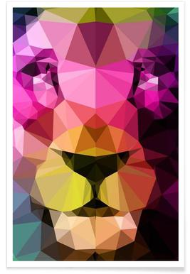 Geometric Lion Neon Poster