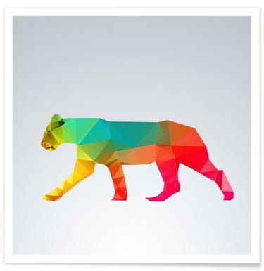 Geometric Lioness Poster