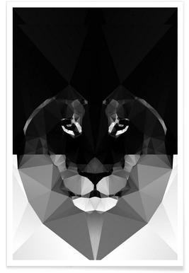 Geometric Lion Monochrome Poster