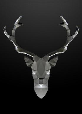Geo Black Deer Canvas print