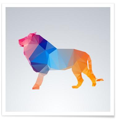 Geometric Lion Colourful Poster