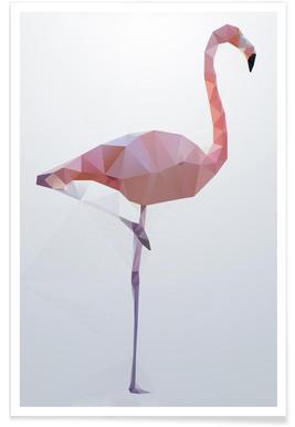 Geometric Flamingo Poster