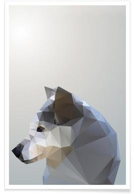 Geometric Winter Fox Poster
