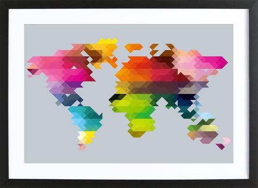 Geo world map as premium poster by three of the possessed juniqe poster in wooden framefrom 399 kr gumiabroncs Images