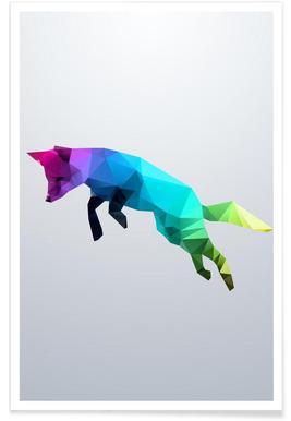 Geometric Jumping Fox Poster