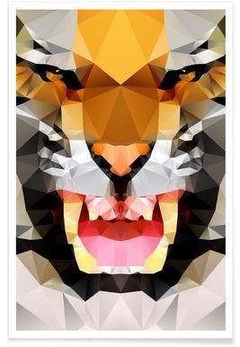 Geometric Tiger Roar Poster