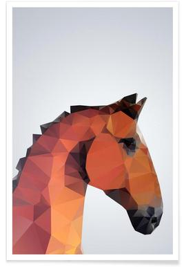 Geometric Horse Poster