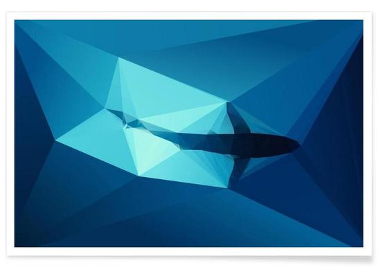 Geometric Shark Blue Poster