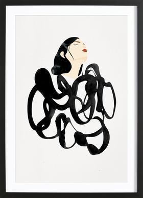Ink Woman Poster in houten lijst