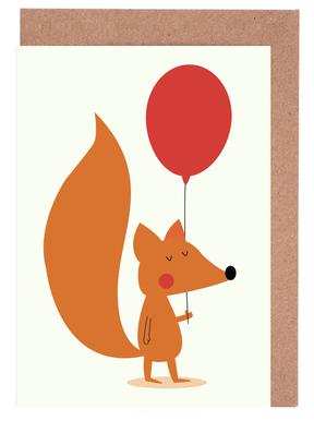 Fox with a Red Balloon Greeting Card Set