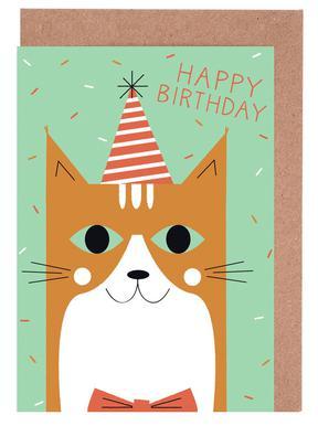 Happy Cat Birthday Greeting Card Set