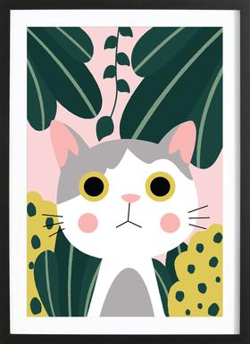 Jungle Cat Poster in Wooden Frame