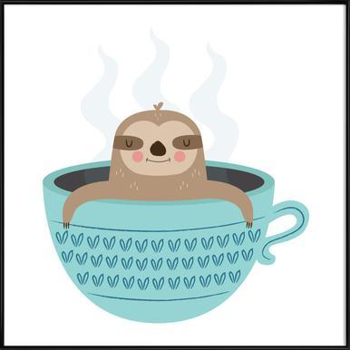 Sloth in A Cup -Bild mit Kunststoffrahmen