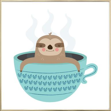 Sloth in A Cup -Poster im Alurahmen