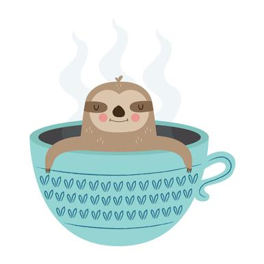 Sloth in A Cup Leinwandbild