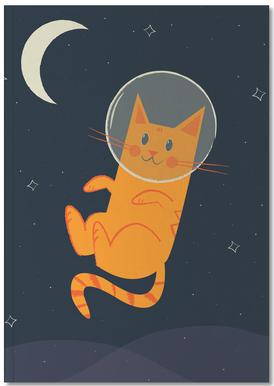 Floating Space Cat Notebook