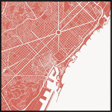Buy framed posters of maps online juniqe uk barcelona pink urban maps poster in standard frame gumiabroncs Images