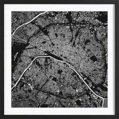 Paris Black as Poster in Standard Frame by Urban Maps | JUNIQE
