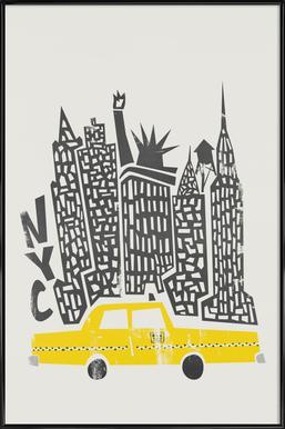 New York Cityscape Poster im Kunststoffrahmen
