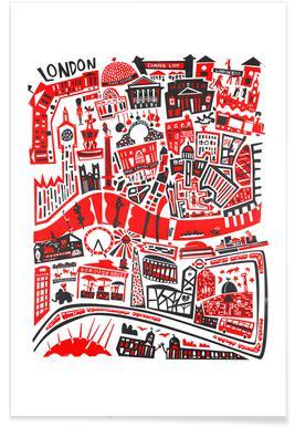 Busy London Map - Fox & Velvet - Poster ...