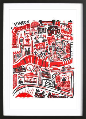 Busy London Map ingelijste print