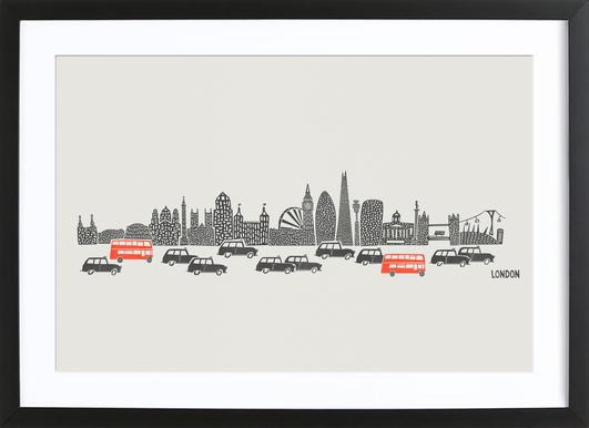 Busy London Map as Poster in Wooden Frame by Fox & Velvet | JUNIQE UK