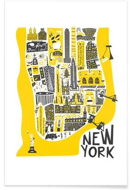 New York Map affiche