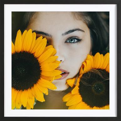 Sunflower Girl Poster i träram