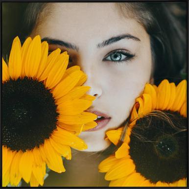 Sunflower Girl Framed Poster