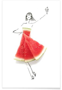 Watermelon Fashion Sketch Poster