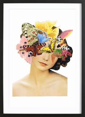 Het recht mooi te zijn - Butterflyhead Poster in houten lijst