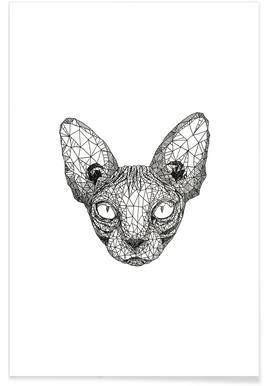 Sphynx Cat Pencil Sketch Poster