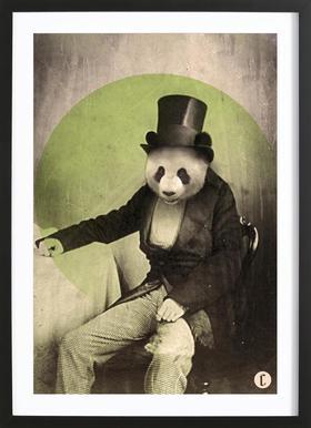 Proper Panda Poster im Holzrahmen