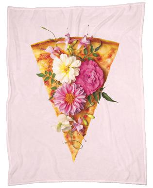 Floral Pizza Fleece Blanket