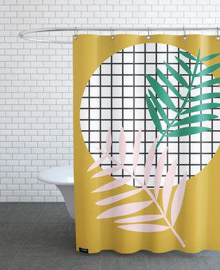 Palm Leaves In Mustard As Shower Curtain By Linda Gobeta