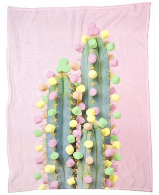 Marshmallow Cactus in Bloom Fleece Blanket