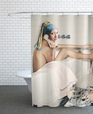 Girl with Pearl Earring Bath time Shower Curtain