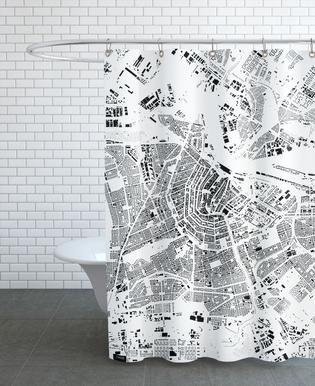 Amsterdam Map Schwarzplan Douchegordijn