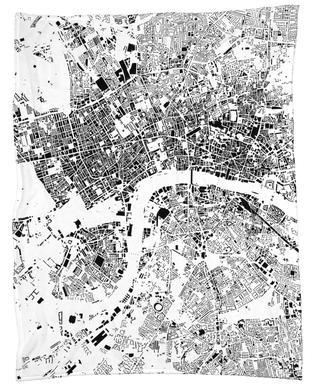 London Map Schwarzplan Plaid