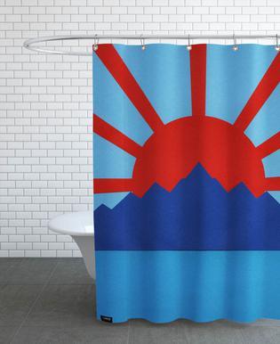 Ocean Moutains Rising Sun Shower Curtain