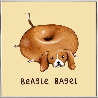 Beagle Bagel affiche sous cadre en aluminium