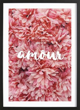 Mon Amour Poster in Wooden Frame