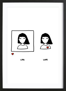 Like vs Love Affiche sous cadre en bois